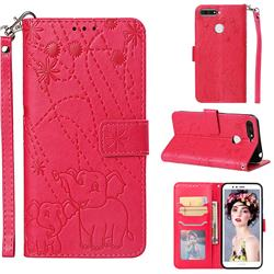 Embossing Fireworks Elephant Leather Wallet Case for Huawei Enjoy 8E - Red