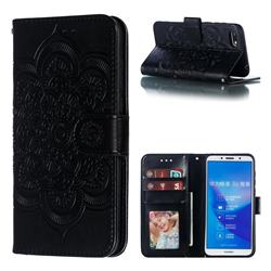Intricate Embossing Datura Solar Leather Wallet Case for Huawei Enjoy 8E - Black
