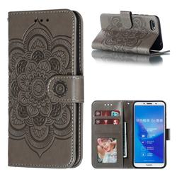 Intricate Embossing Datura Solar Leather Wallet Case for Huawei Enjoy 8E - Gray