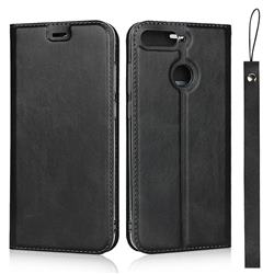 Calf Pattern Magnetic Automatic Suction Leather Wallet Case for Huawei Enjoy 8E - Black