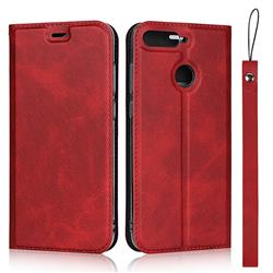 Calf Pattern Magnetic Automatic Suction Leather Wallet Case for Huawei Enjoy 8E - Red