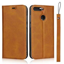 Calf Pattern Magnetic Automatic Suction Leather Wallet Case for Huawei Enjoy 8E - Brown