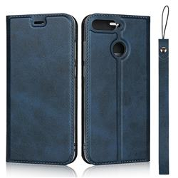Calf Pattern Magnetic Automatic Suction Leather Wallet Case for Huawei Enjoy 8E - Blue