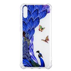 Peacock Butterfly Anti-fall Clear Varnish Soft TPU Back Cover for Huawei Enjoy 9