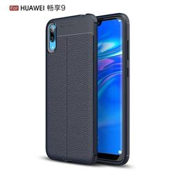 Luxury Auto Focus Litchi Texture Silicone TPU Back Cover for Huawei Enjoy 9 - Dark Blue