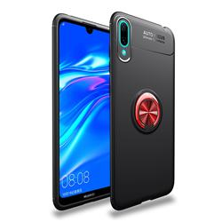 Auto Focus Invisible Ring Holder Soft Phone Case for Huawei Enjoy 9 - Black Red