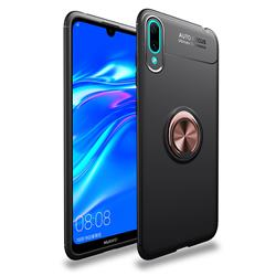 Auto Focus Invisible Ring Holder Soft Phone Case for Huawei Enjoy 9 - Black Gold