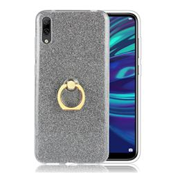 Luxury Soft TPU Glitter Back Ring Cover with 360 Rotate Finger Holder Buckle for Huawei Enjoy 9 - Black