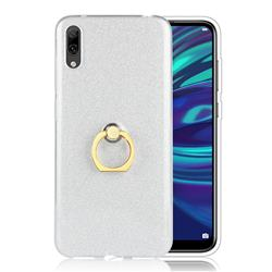 Luxury Soft TPU Glitter Back Ring Cover with 360 Rotate Finger Holder Buckle for Huawei Enjoy 9 - White