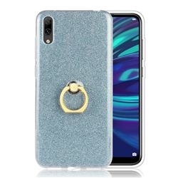 Luxury Soft TPU Glitter Back Ring Cover with 360 Rotate Finger Holder Buckle for Huawei Enjoy 9 - Blue
