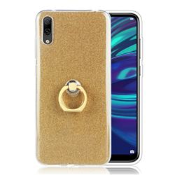 Luxury Soft TPU Glitter Back Ring Cover with 360 Rotate Finger Holder Buckle for Huawei Enjoy 9 - Golden