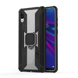 Predator Armor Metal Ring Grip Shockproof Dual Layer Rugged Hard Cover for Huawei Enjoy 9 - Black