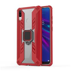 Predator Armor Metal Ring Grip Shockproof Dual Layer Rugged Hard Cover for Huawei Enjoy 9 - Red