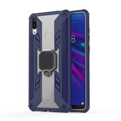 Predator Armor Metal Ring Grip Shockproof Dual Layer Rugged Hard Cover for Huawei Enjoy 9 - Blue