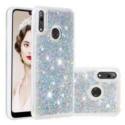 Dynamic Liquid Glitter Quicksand Sequins TPU Phone Case for Huawei Enjoy 9 - Silver