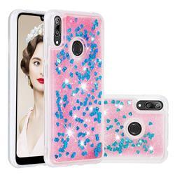Dynamic Liquid Glitter Quicksand Sequins TPU Phone Case for Huawei Enjoy 9 - Blue