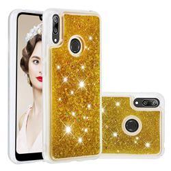 Dynamic Liquid Glitter Quicksand Sequins TPU Phone Case for Huawei Enjoy 9 - Golden