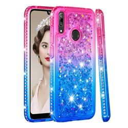 Diamond Frame Liquid Glitter Quicksand Sequins Phone Case for Huawei Enjoy 9 - Pink Blue