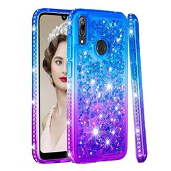 Diamond Frame Liquid Glitter Quicksand Sequins Phone Case for Huawei Enjoy 9 - Blue Purple