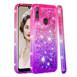 Diamond Frame Liquid Glitter Quicksand Sequins Phone Case for Huawei Enjoy 9 - Pink Purple
