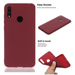 Soft Matte Silicone Phone Cover for Huawei Enjoy 9 - Wine Red