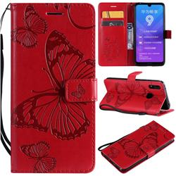 Embossing 3D Butterfly Leather Wallet Case for Huawei Enjoy 9 - Red