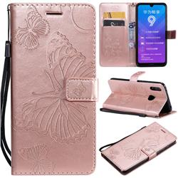 Embossing 3D Butterfly Leather Wallet Case for Huawei Enjoy 9 - Rose Gold