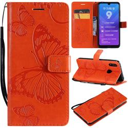 Embossing 3D Butterfly Leather Wallet Case for Huawei Enjoy 9 - Orange
