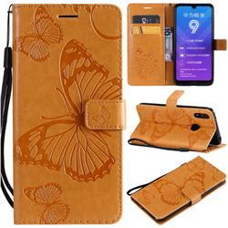 Embossing 3D Butterfly Leather Wallet Case for Huawei Enjoy 9 - Yellow