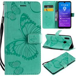 Embossing 3D Butterfly Leather Wallet Case for Huawei Enjoy 9 - Green