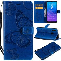 Embossing 3D Butterfly Leather Wallet Case for Huawei Enjoy 9 - Blue