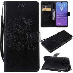 Embossing Butterfly Tree Leather Wallet Case for Huawei Enjoy 9 - Black
