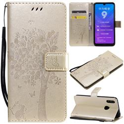 Embossing Butterfly Tree Leather Wallet Case for Huawei Enjoy 9 - Champagne