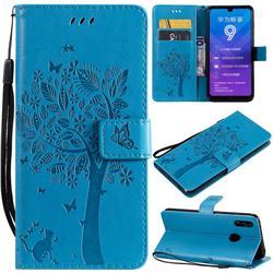 Embossing Butterfly Tree Leather Wallet Case for Huawei Enjoy 9 - Blue