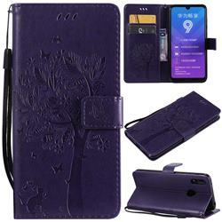 Embossing Butterfly Tree Leather Wallet Case for Huawei Enjoy 9 - Purple