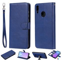Retro Greek Detachable Magnetic PU Leather Wallet Phone Case for Huawei Enjoy 9 - Blue