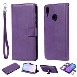 Retro Greek Detachable Magnetic PU Leather Wallet Phone Case for Huawei Enjoy 9 - Purple