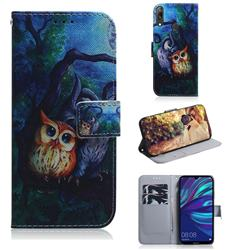 Oil Painting Owl PU Leather Wallet Case for Huawei Enjoy 9