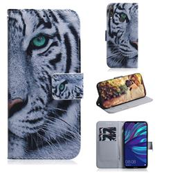White Tiger PU Leather Wallet Case for Huawei Enjoy 9