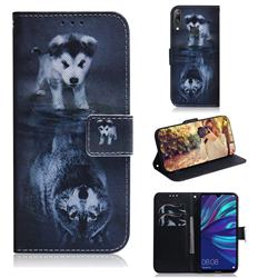 Wolf and Dog PU Leather Wallet Case for Huawei Enjoy 9