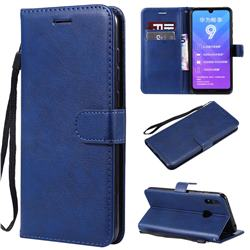 Retro Greek Classic Smooth PU Leather Wallet Phone Case for Huawei Enjoy 9 - Blue