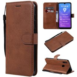 Retro Greek Classic Smooth PU Leather Wallet Phone Case for Huawei Enjoy 9 - Brown