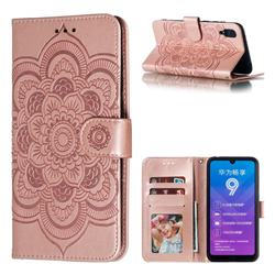 Intricate Embossing Datura Solar Leather Wallet Case for Huawei Enjoy 9 - Rose Gold