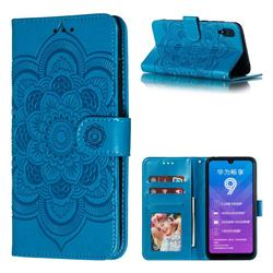 Intricate Embossing Datura Solar Leather Wallet Case for Huawei Enjoy 9 - Blue