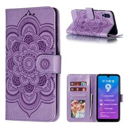 Intricate Embossing Datura Solar Leather Wallet Case for Huawei Enjoy 9 - Purple