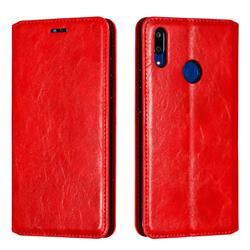 Retro Slim Magnetic Crazy Horse PU Leather Wallet Case for Huawei Enjoy 9 - Red