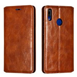 Retro Slim Magnetic Crazy Horse PU Leather Wallet Case for Huawei Enjoy 9 - Brown