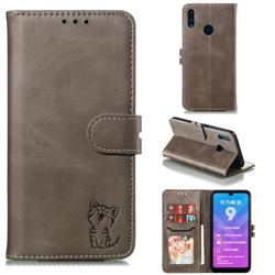 Embossing Happy Cat Leather Wallet Case for Huawei Enjoy 9 - Gray