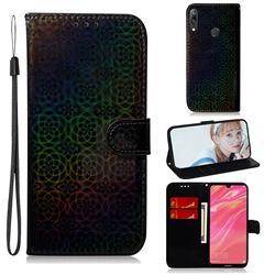 Laser Circle Shining Leather Wallet Phone Case for Huawei Enjoy 9 - Black