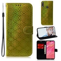 Laser Circle Shining Leather Wallet Phone Case for Huawei Enjoy 9 - Golden